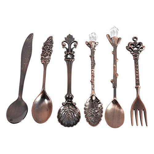 Oumij1 6 Unids/Set Cucharas Vintage Tenedor Estilo Real Metal Tallado Mini Cucharas...