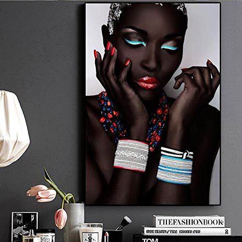Henypt Painting Lippen und Nägel der sexy schwarzen nackten Afrikanerin auf Leinwand Gemälde Poster und Wandbilder des nordischen Wohnzimmer-Frameless, 60 * 80cm