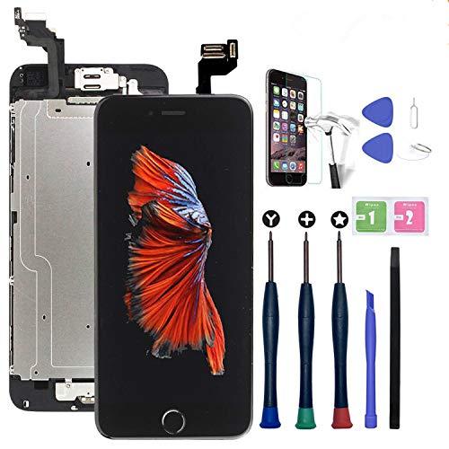 Xlhama Touchscreen LCD Display für iPhone 6S schwarz mit Home-Button, Frontkamera, Proxidationssensor, Lautsprecher, Werkzeuge und Folie aus Hartglas