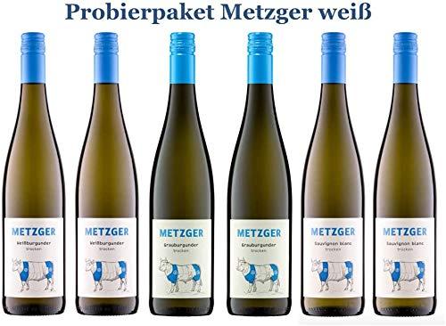 6 er Probierpaket Weißwein von Weingut Metzger | Grauburgunder, Weißburgunder, Sauvignon Blanc | Pfalz | 6 x 0,75 l