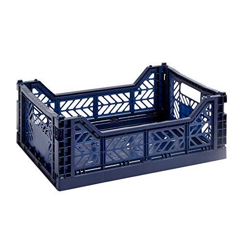 HAY Colour Crate M, Transportbox, blau, Marine/Polypropylen/Faltbar, 507674