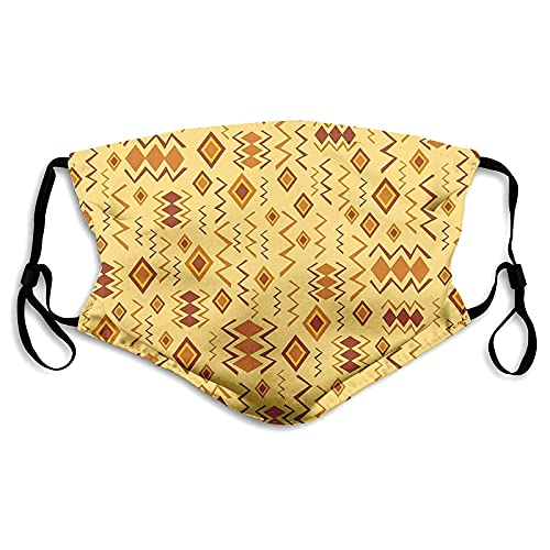 Face Mask Women Men African Art With Quirky Forms Cultural Icons Tribal Design Universal Face Cover Fashionable Facial Decorations Unique Mouth Shield Protective Face Cloth