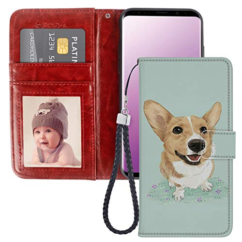 Samsung Galaxy S9 Plus Wallet Case Corgi Dog Premium PU Leather Wallet with Viewing Stand and Card Slots Folio Flip Cover and Wrist Strap for Samsung Galaxy S9 Plus