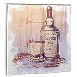huagu Set de Cortinas de baño para decoración de baño,Botella de Whisky escocés,Vidrio y barriles con Orejas de Cebada y Granos Cortinas de baño de Tela con Ganchos 150cmx180cm