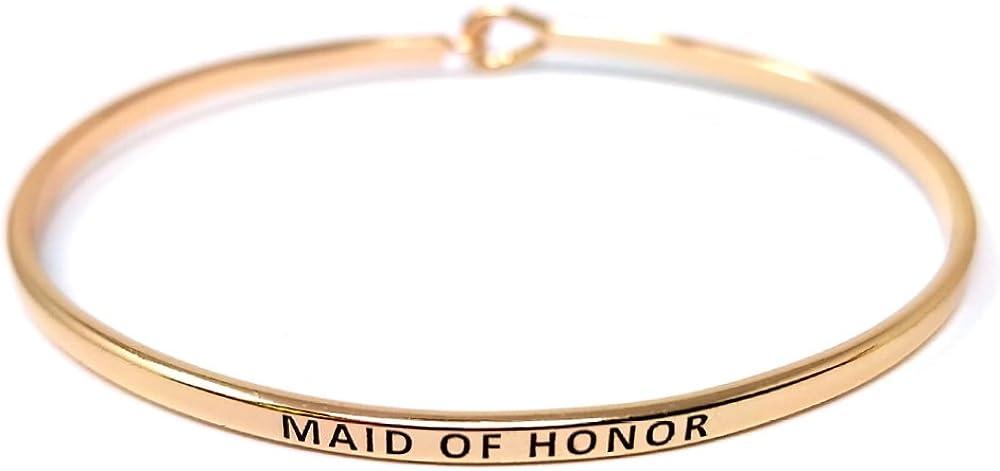 by you Wedding Inspirational Message Engraved Thin Bangle Hook Bracelet