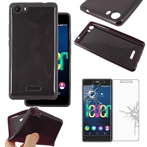 ebestStar - kompatibel mit Wiko Fever 4G Hülle TPU S-line Style Silikon Handyhülle, Schutzhülle Hülle Cover, Schwarz +Panzerglas Schutzfolie [Phone:148x73.8x8.3mm 5.2