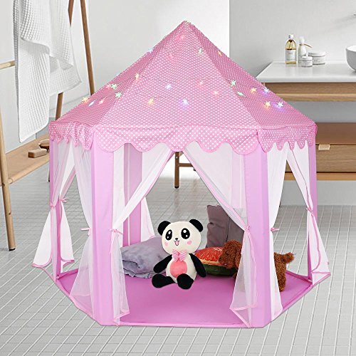 Zerone Princess Castle Play Tent, Indoor Children Playhouse Toy Tent Kids Play Tent Girls Toy Princess Pink Tent, 55 x 53 x 55Inch