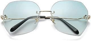 LUKEEXIN Rimless Sunglasses for Women Retro Vintage Sunglasses (Color : Green)