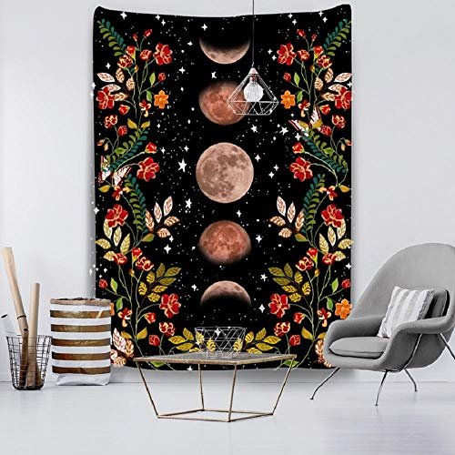 Tapestry Flower Wall Decor Hanging Room Starry Sky Carpet Moon Tapestries Art Home Decoration-150x100cm