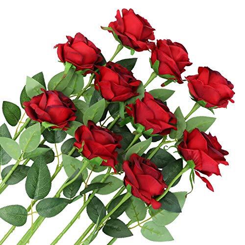 Veryhome 10 Stücke Künstliche Rosen Silk Blumen Gefälschte Flowers Braut Hochzeit Bouquet Für Hausgarten Geburtstag Party Home Wedding Dekor (Wein Rot - Blühende Rosen)
