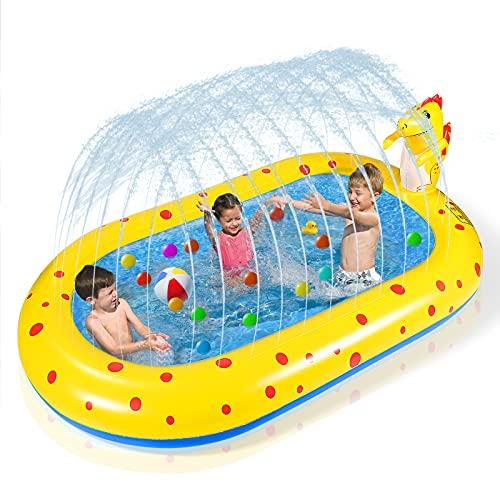 Inflatable Sprinkler Kiddie Toddler Pool 67'' Splash Pad Kids Baby Pool Dinosaur Summer Water Toys Toddler Outdoor Toys Outside Backyard Yard Games Blow Up Swimming Pool for Boys Girls Age 1-3 2-4 4-8