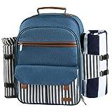 Sunflora Mochila de Picnic Set para 4 Personas con Bolsa Isotérmica y Compartimiento Nevera Impermeable de Familiar Outdoor Camping (Raya Azul)