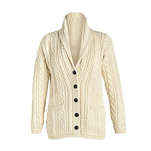 Multi Wool Cable Knit Irish Shawl Cardigan (Small, Natural)