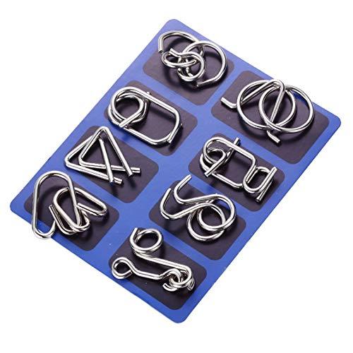 Gracelaza 8 Piezas Juguetes Mágicos de Alambre de Metal Set - 3D Rompecabezas Brain Teaser Puzzle - IQ Inteligencia Juguete Educativo - Juego Niños y Adolescentes #1