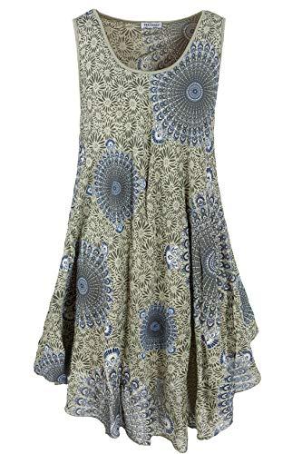 PEKIVESSA Strandkleid große Größen Damen ärmellos Sommerkleid Olivgrün 48+50 (Herstellergröße 3XL)