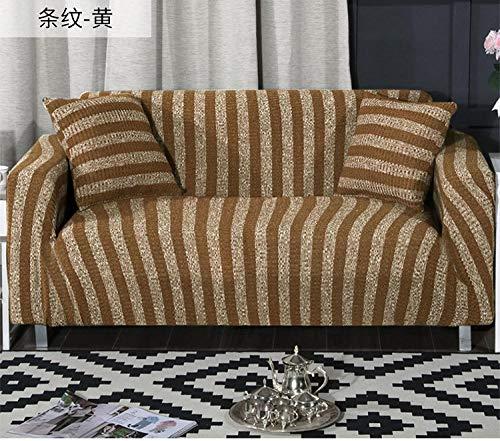 Cubierta para sofá con Cuerda de fijación,Funda de sofá elástica a rayas tejida, funda protectora antiincrustante para muebles, funda de cojín antideslizante de funda completa, sofá lavable-yellow_23