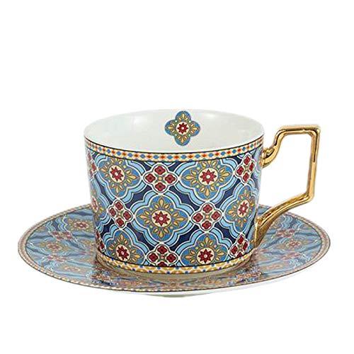 Taza de café de cerámica colorida con asa dorada