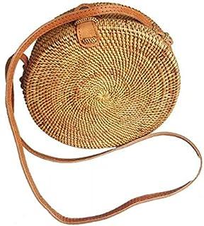 Bali rattan round bag. Approximate diameter 20 cm, width 8 cm