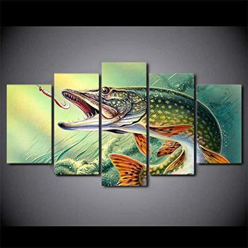 yuanjun 3D Leinwanddrucke,Modulare Wandkunst Wandaufkleber,5 Teiliges Wandbild,Größe 150 X 80 cm Leinwandbild, Wandbilder XXL Angelhaken Hechtfisch