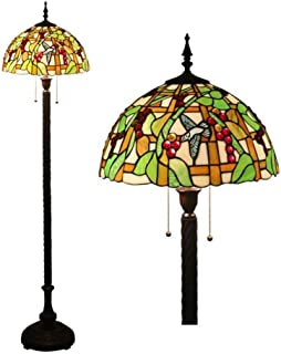 Tiffany Style Floor Lamps 16 Inch Stained Glass Shade Birds Fruits Floor Uplighter European Retro for Bedroom Living Room Reading Lighting, 2 Light Antique Base