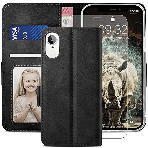 YATWIN Cover Compatibile con iPhone XR, Flip Custodia Portafoglio in Pelle Premium Slot per iPhone XR con Vetro Temperato, Supporto Stand, Stile Libro e Chiusura Magnetica per iPhone XR Case - Nero