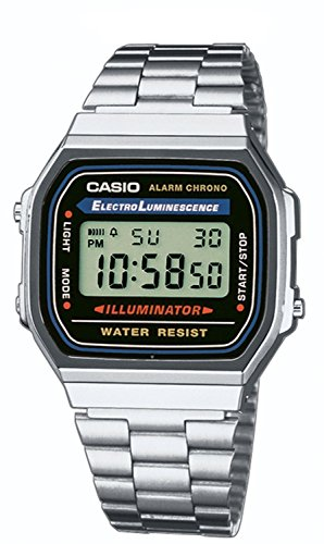 Casio Collection – Unisex-Armbanduhr mit Digital-Display und Edelstahlarmband – A168WA-1YES