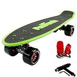 FunTomia Mini Board monopatín Skateboard 57cm - Big Wheel 65mmx45mm (80A) - Rodamiento ABEC-11 (Verde - Gran Rollo)