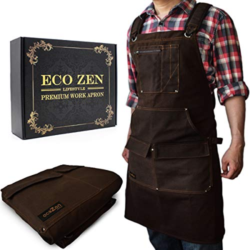 Woodworking Shop Apron - 16 oz Waxed Canvas Work Aprons | Metal Tape holder, Fully Adjustable to Comfortably Fit Men and Women Size S to XXL | Tough Tool Apron to Give Protection and Last a Lifetime
