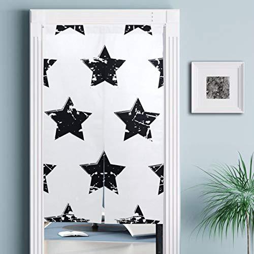 JISMUCI Vorhänge für Türen,Hand gezeichnete Vektor Nahtlose Muster schwarz,Türvorhang Für die Küche Wohnzimmer Schlafzimmer