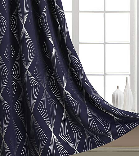 Finestile Nursery / Kid's Bedroom Blackout Curtains with Glitter Silver Foil Print Line Diamond Pattern Thermal Insulated Grommet Window Drapes for Girls Bedroom 52 X 84 inch Long 1 Piece Navy Blue