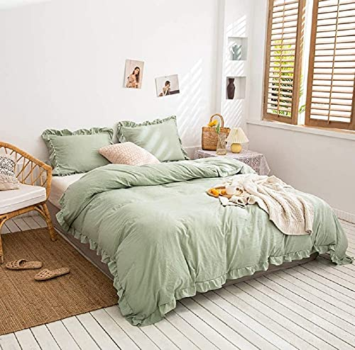 Sage Green Color Washed Ruffled Duvet Cover, Queen Bedding Set,Twin Bedding Set, King Duvet Sage Green Ruffled Comforter Set Ruffled Bedding Sets (Twin XL)