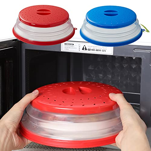 Copertura per microonde, VLVEE pieghevole coperchio per microonde antischizzi per Riscaldamento a Microonde e Antispruzzo, senza BAP e atossico (Rosso+Blu, 2 pezzi)
