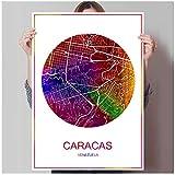 Zhaoyangeng Famoso Mapa De La Ciudad Caracas Imprimir Póster Imprimir En Papel O Lienzo Imagen De La Pared Bar Pub Cafe Sala De Estar Decoración Del Hogar- 50X70Cm Sin Marco