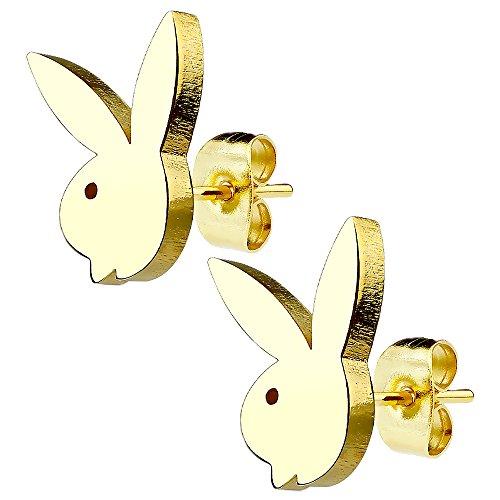 Piersando Damen Ohrstecker Kleine Ohrringe aus Edelstahl Klein Stecker Playboy Hase Gold vergoldet