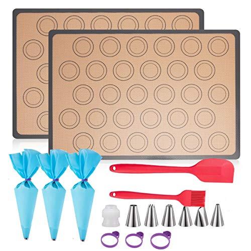 FINGER TEN Silikon Backmatte Kit Silikonmatte Backen Macarons Groß 42×29.5cm 2er Set BPA Frei Antihaft Wiederverwendbar Für Backofen Mikrowelle Backform Liner up to 260℃ (Grau, (42×29.5) cm 2er Set)