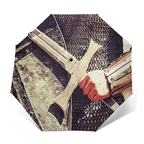 Parapluie Pliant, Parapluie Pliable Automatique Ouverture et Fermeture Résistant à Tempête Compact Léger Parapluie De Voyage pour Homme et Femme Cotte de Mailles Templar Knight