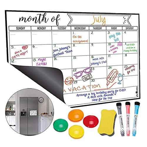 Panlom Family Planner Whiteboard Monthly Planner Magnetic Calendar for Fridge 40 * 30cm Included 3 Dry Wipe Markers & Eraser & 4 Fridge Magnets