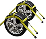 2X Car Basket Straps Adjustable Tow Dolly DEMCO Wheel Net Set Flat Hook Standard Wheels Fits (19-21 Inches, Yellow)
