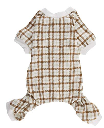 Lanyarco Beige Plaid Pajama for Cats,Dog Pajamas Onesie PJS for Pet Small