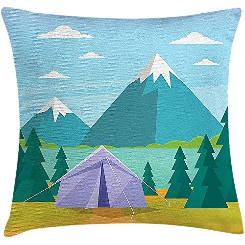 sherry-shop Funda de cojín de Almohada de Camping, Actividad recreativa de Dibujos Animados con diseño de Lago y árboles de montaña, Tema de Viaje, Multicolor 20X20In