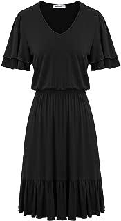 Women's V Neck Short Sleeve Pleated Waist Casual Midi Dress with Ruffle Hem