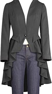 XS-20 Edward – Gray Grey Gothic Victorian Retro Ruffle Flared Tail Jacket