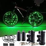 KaiDengZhe Luces de Rueda de Bicicleta Recargables USB Super Brillante Luz LED de Bicicleta Luz de Radios de Bicicleta para Máxima Seguridad y Estilo (Paquete de 2, Verde)