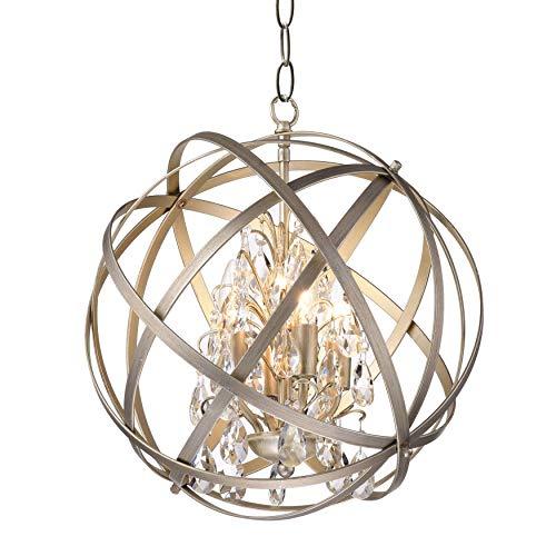 Jojospring Benita Antique-Copper Metal Crystal 4-Light Orb Chandelier Hanging Ceiling Globe Pendant Light Fixture