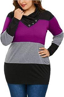 Sudaderas con Capucha Camisa de Mujer Cuello Alto Irregular Manga Larga Otoño E Invierno Tallas Grandes
