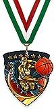 Medalla/Imán Grande de Metal - Baloncesto Masculino - Fabricadas de Acero Acabado en Negro - con Cinta Incluida a Elegir y Reverso Recubierto por un Potente Imán. (Verde-Blanco-Rojo)
