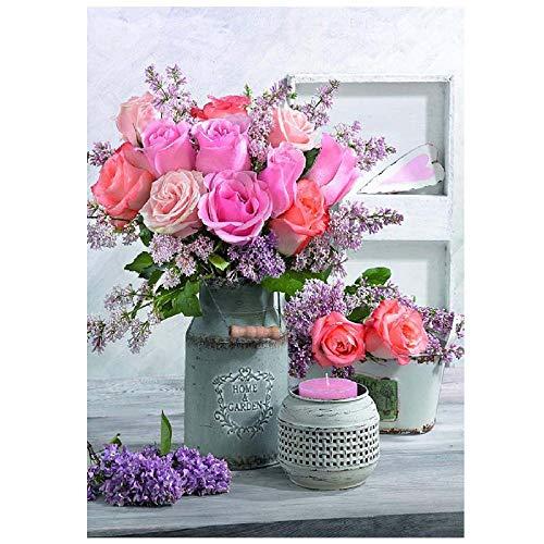 5D-bloemen, doe-het-zelf, diamantschilderij, natuur, vaas in roze met pieno voor Frans bed, mozaïek, borduurwerk, strass-steentjes, wanddecoratie 40x50cm