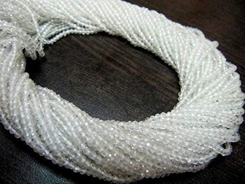 Shree_Narayani Cuentas de piedras preciosas facetadas de topacio blanco natural de Rondelle 2 mm Strand 13 pulgadas de largo al por mayor precios de piedras natalicias 2 hebras