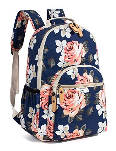 Leaper Floral School Backpack for Girls Travel Bag Bookbag Satchel Dark Blue 2