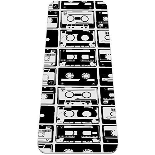 Antiguo tapete de yoga con patrón de cintas Autio, respetuoso con el medio ambiente, antideslizante, tapete de entrenamiento para yoga, pilates y ejercicios de piso 182,8 x 81,2 cm